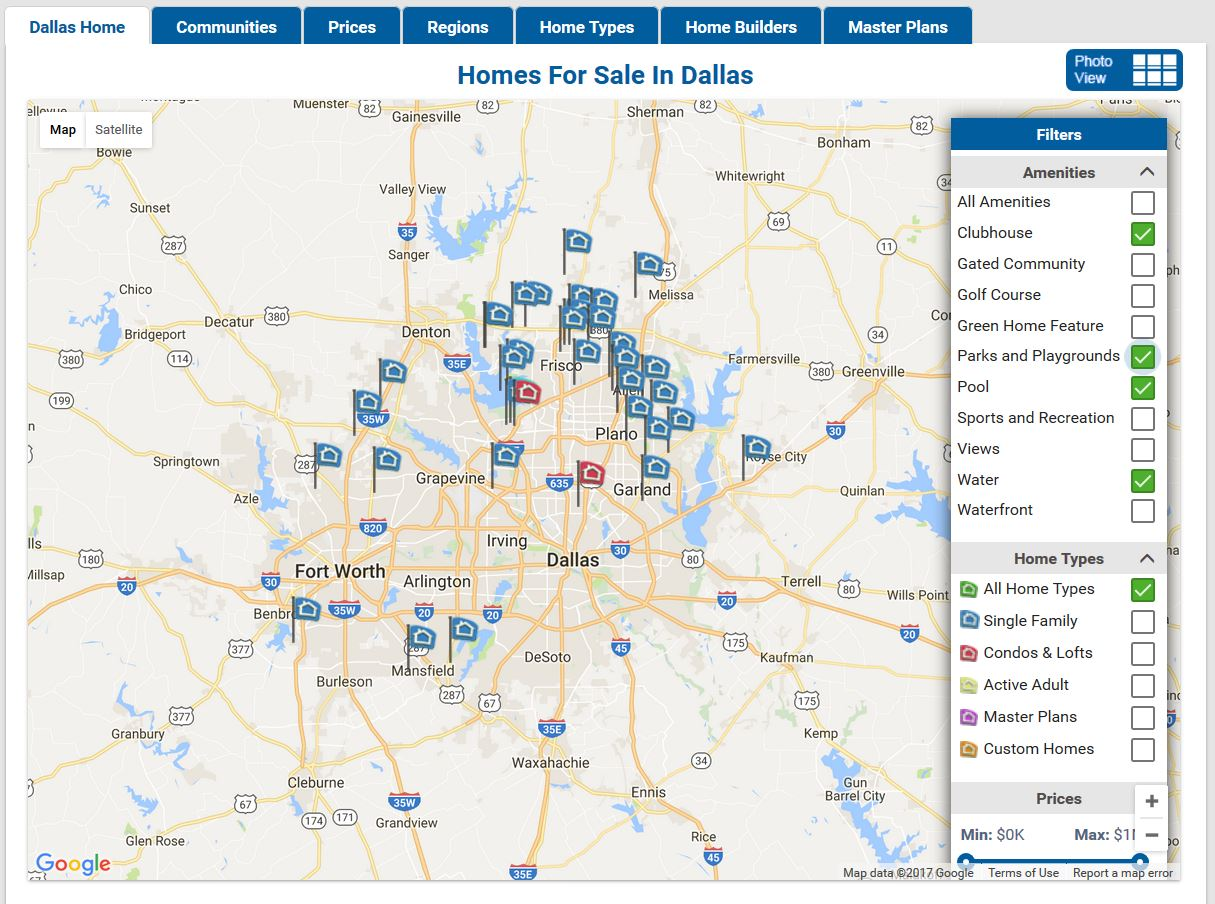 New Homes Directory Map Amenities Filter