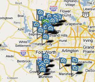 Map Marking Fort Worth New Homes
